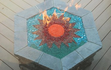 custom fire-glass firepit Dallas TX   www.grasshopperslandscapingllc.com