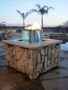 water and fireglass firepit Dallas TX  www.grasshopperslandscapingllc.com